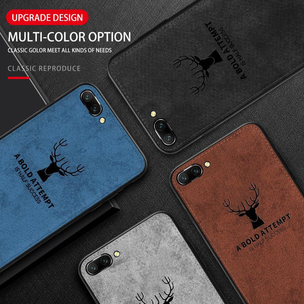 Soft TPU Edge Canvas Embossed Deer Phone Case For Huawei Mate 10 20 Lite P20 Pro Nova 3 3i 2s P Smart Plus Case Soft Cloth Cover