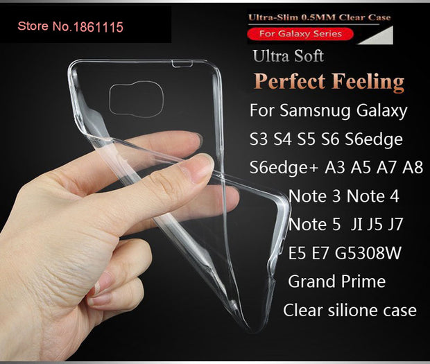 Soft Ultra Thin Clear Cover Case For Samsung Galaxy All Series S3 S4 S5 S6 S7 Edge Note 3 4 5 A3 A5 A7 J1 J5 J7 Silicone Case