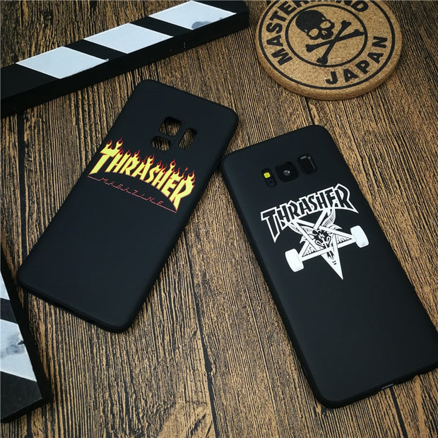 Street Skateboarding Flame Phone Cover Case For Samsung Galaxy S8 S9 Plus Note 8 9 Matte Soft Silicone Couple Coque Fundas Cases