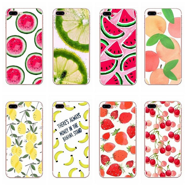 Summer Fruit Lemon Watermelon Pattern Cell Phone Case For IPhone 8 X 6 6S 7 Plus 5 5S SE Transparent Silicone Phone Back Cover