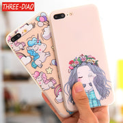 THREE-DIAO Phone Case For Iphone 5 5S SE 6 6s Plus Cartoon Unicorn Soft Tpu Silicon Case Back Cover Coque For Iphone 7 8 Plus