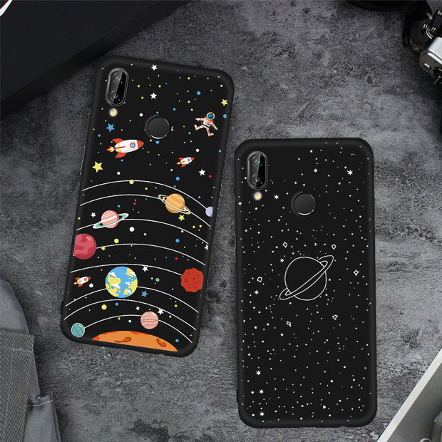 TPU Cover Phone Case For Huawei Honor Note 10 9 Lite 8X Max 7X V9 Play 6C Pro Magic 2 Black Matte Cover Lover Space Star Shell
