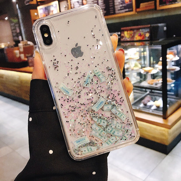 TPU + PC Shockproof Phone Case For IPhone 6 6S 7 8 Plus X XS MAX XR Cover USD Dollars Moving Glitter Quicksand Liquid Back Case