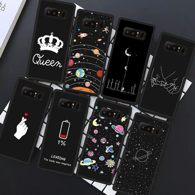 TPU Pattern Case For Samsung Galaxy J4 J6 Plus J7 J8 J3 2018 Moon Heart Lover Silicone Phone Cases Matte Back Cover