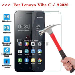 (TaiRuiXing) Screen Protector Film 0.3mm 9H 25D Front Premium Tempered Glass For Lenovo Vibe C A2020 A 2020 Cover