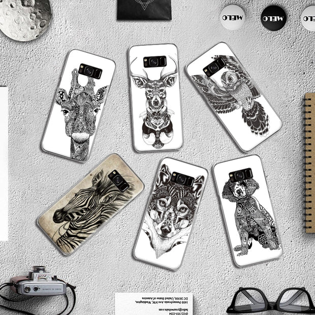 Tattoo Animal Tribal Dog Owl Giraffe Wolf Pattern For Samsung Galaxy S4 S5 Mini S6 S7 S8 S9 Edge Plus Note 3 4 5 8 Phone Case