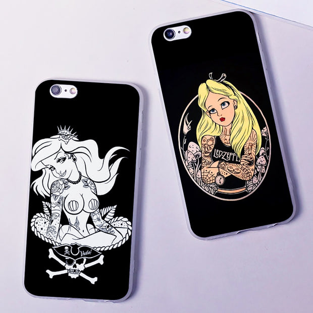 Tattooed Alice Ariel Jasmine Sexy Phone Case Fashion New Cover Hard Transparen For IPhone 6 6s 7 8plus 5s 5c 4s 4 X XS XR XSMAX