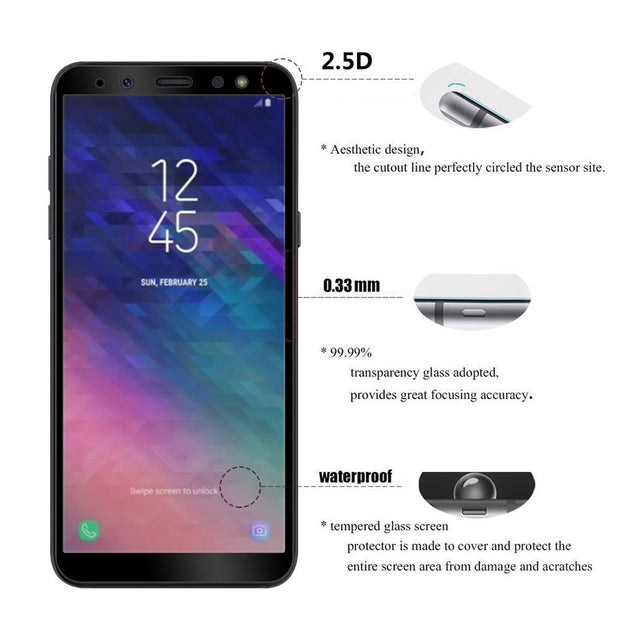 Tempered Glass For Samsung Galaxy A5 2017 Screen Protector Phone Case For Samsung A6 A8 Plus 2018 A3 A5 A7 2017 Full Cover Film