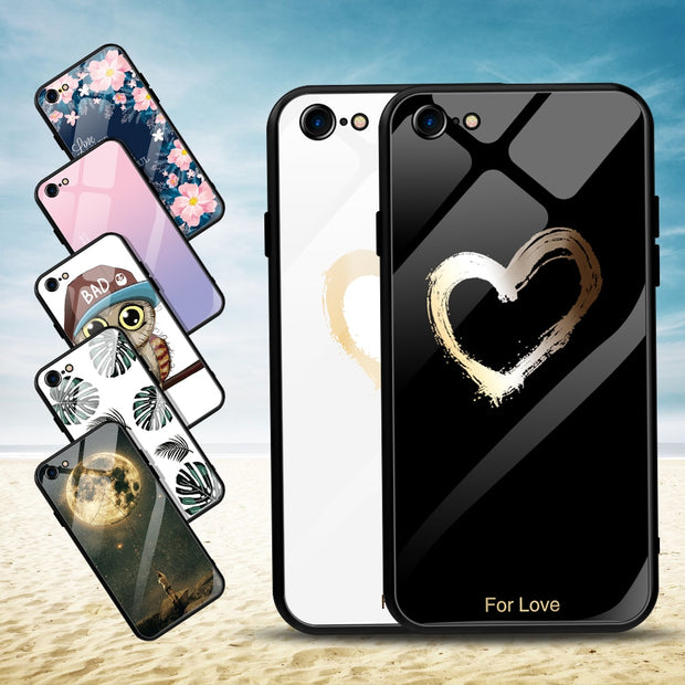 Tempered Glass Mirror Case For IPhone XS MAX XR 8 7 6 6S Plus Painted Layer Back Cover Love Heart Owl Leaves Capa Coque Shell