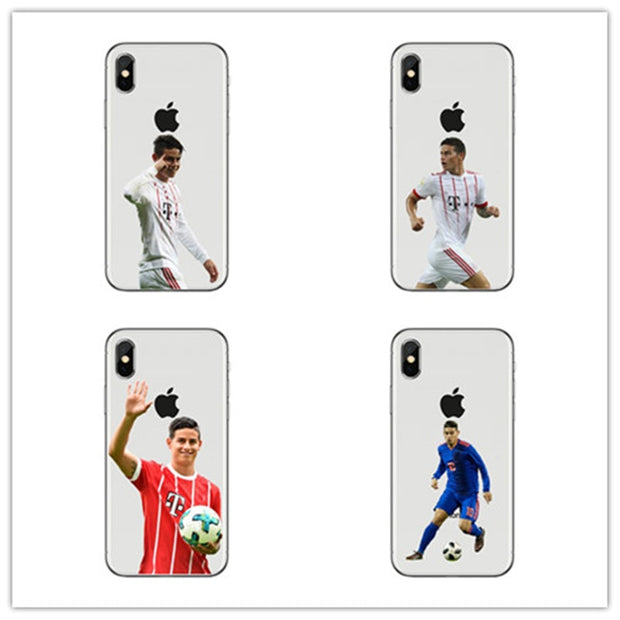 The Soccer Superstars James Rodriguez Soft Transparent Silicone TPU Phone Cover Case For IPhone 4 5 6 7 8 Plus X Coque Shell