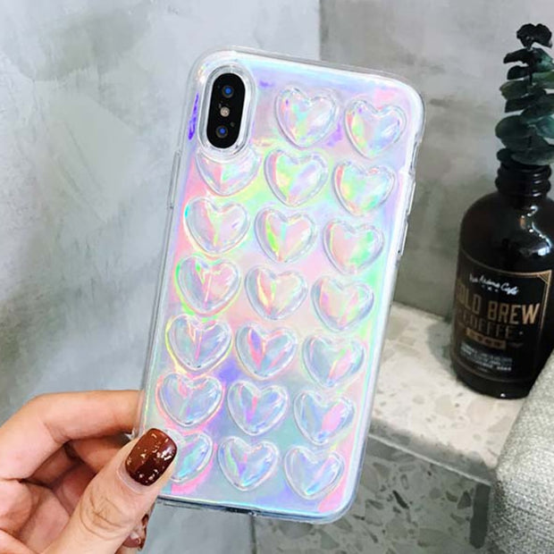 Tikitaka Case For IPhone XS XR XS Max X 6 6S 7 8 Plus Glossy 3D Laser Hearts Rhombus Transparent Soft TPU Phone Back Cover Cases