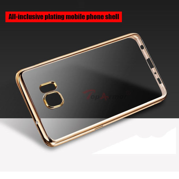 TopArmor Crystal Clear Case Cover For Samsung S6 S7 Plating Transparent Soft TPU Cover For Samsung Galaxy A3 A530 C5 J730 Case