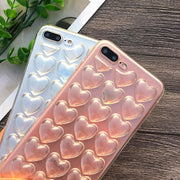 Transparent 3D Stereo Love Heart Phone Case For IPhone 8 7 Plus Case Soft TPU Crystal Clear Cover For Apple IPhone X 8Plus Case