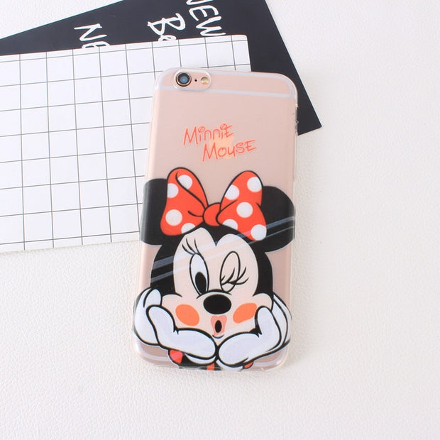 Transparent Clear Lip Soft Tpu Slim Cases For IPhone 6 6S 7 5 5S SE 7 8 Plus X Cartoon Animal Silicone Cover For IPhone 6