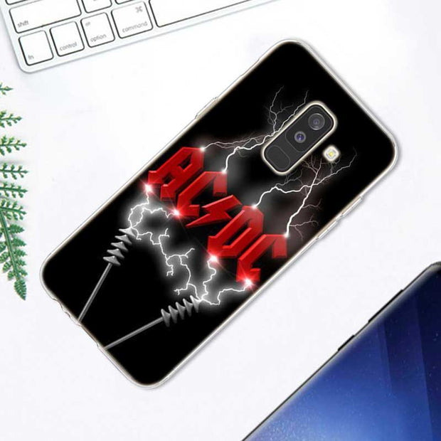 Transparent Soft Silicone Phone Case AC DC Poster Music For Samsung Galaxy A9 A8 Star A7 A6 A5 A3 Plus 2018 2017 2016