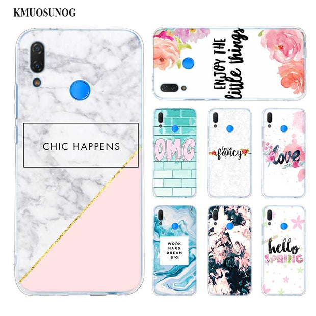 Transparent Soft Silicone Phone Case Chic Pink Marble Pretty For Huawei P Smart Nova 3 3i P20 P10 P9 P8 Lite 2017 Pro Plus