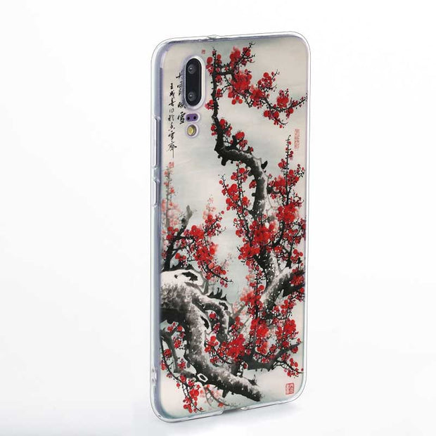 Transparent Soft Silicone Phone Case Chinese Watercolor Painting For Huawei P Smart Nova 3i P20 P10 P9 P8 Lite 2017 Pro Plus