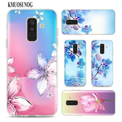 Transparent Soft Silicone Phone Case Colourful Rose Lotus Flower For Samsung Galaxy A9 A8 Star A7 A6 A5 A3 Plus 2018 2017 2016