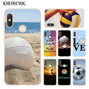 Transparent Soft Silicone Phone Case I Love Volleyball For Xiaomi A1 A2 8 F1 Redmi S2 Note 4X 5 6 5A 6A Pro Lite Plus