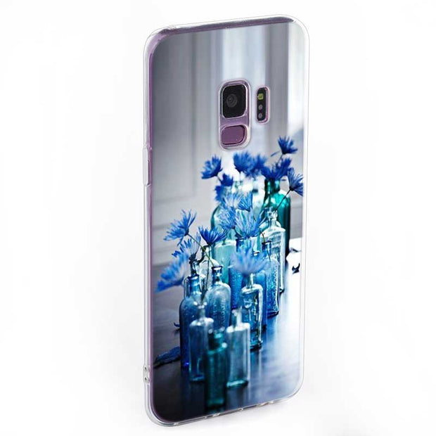 Transparent Soft Silicone Phone Case Simple Lavender Purple Flowers For Samsung Galaxy Note 9 8 S9 S8 Plus S7 S6 Edge S5 S4 Mini