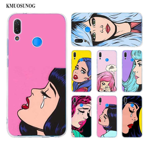 Transparent Soft Silicone Phone Case Vintage Pop Art Crying Girl For Huawei P Smart Nova 3i P20 P10 P9 P8 Lite 2017 Pro Plus