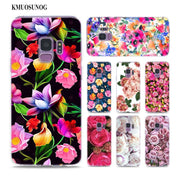 Transparent Soft Silicone Phone Case Flower Roses Peony Painted For Samsung Galaxy Note 9 8 S9 S8 Plus S7 S6 Edge S5 S4 Mini