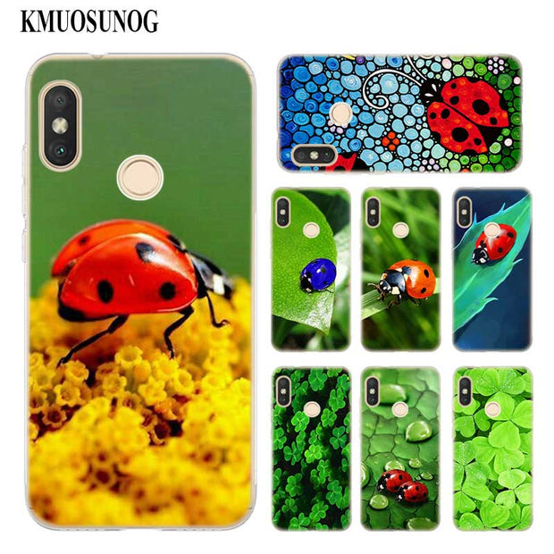 Transparent Soft Silicone Phone Case Four Leaf Clover Ladybug Daisy For Xiaomi A1 A2 8 F1 Redmi S2 Note 4X 5 6 5A 6A Pro Lite
