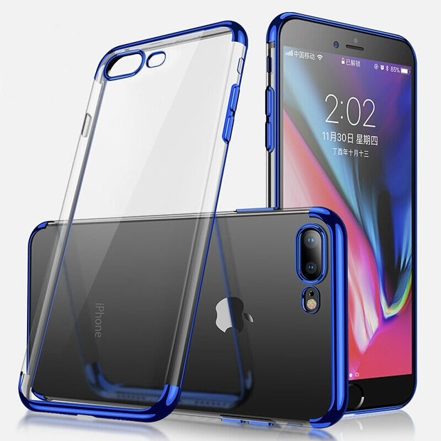 Transparent Soft TPU Plating Phone Case For IPhone XS MAX XR 6 6S 5 5S SE 7 8 9 Plus X Ultra Thin Plating Silicon Back Case
