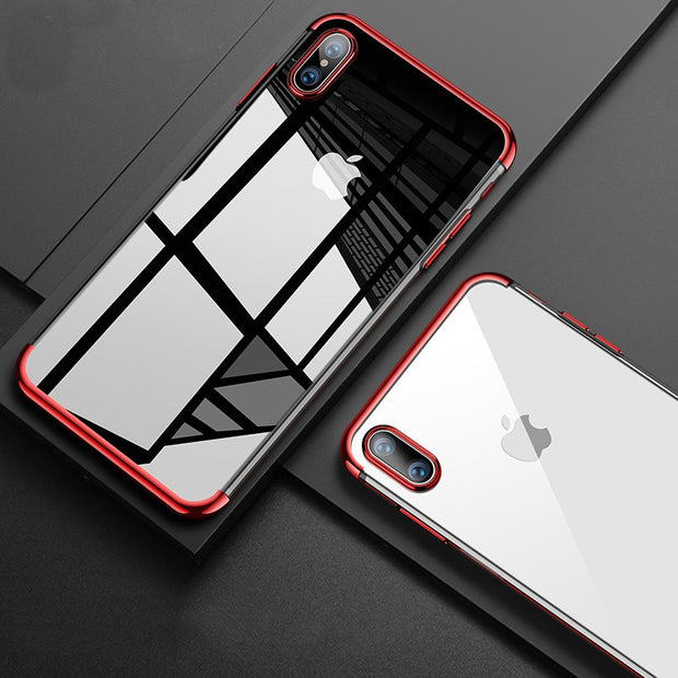 Transparent Soft TPU Case For IPhone Xr 6.1 Xs Max 6.5 6 6S 5 5S SE 7 8 Plus X Cases Ultra Thin Plating Silicon Cover Capa