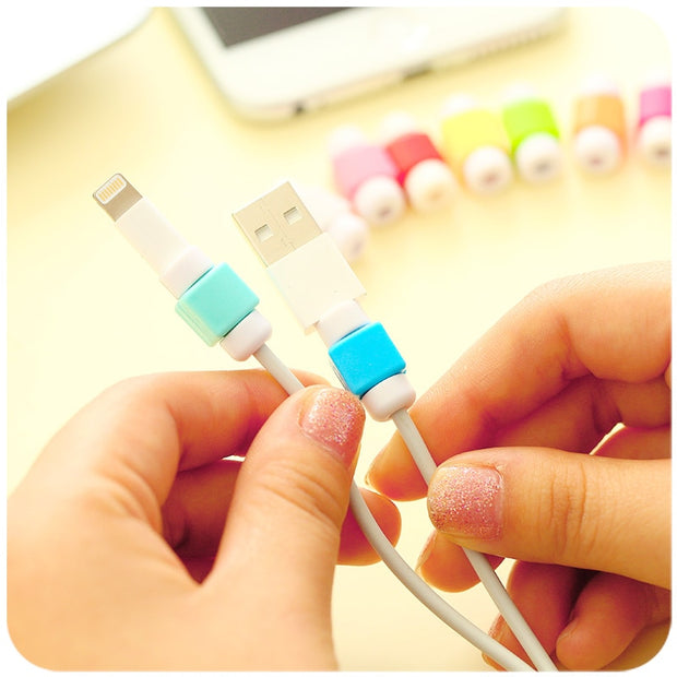 USB Cable Protector Colorful Cover Case For Apple Iphone 7 7 Plus 6 6S 5 5S SE 4 4S Case Charger Data Cable Earphone Accessories