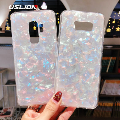 USLION Case For Samsung Galaxy Note 9 8 S8 S8 Plus Shell Grain Glitter Fashion Case For Galaxy S9 S9 Plus Soft Silicon Cover