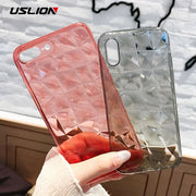 USLION Clear Diamond Pattern Case For IPhone XR XS MAX X 8 7 6 Plus Soft TPU Phone Cover For IPhone 7 6s Plus Transparent Cases