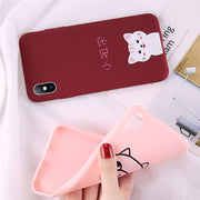 USLION Cute Cartoon Pig Cat Phone Case For IPhone 6 7 8 Plus X XR XS Max Love Cases For IPhone 6 6S Plus Soft TPU Silicon Cover