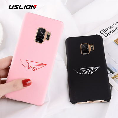 USLION Paper Airplane Case For Samsung Galaxy Note 9 8 S8 S8 Plus S7 Edge Hard Phone Cases For Galaxy S9 S9 Plus Plastic Cover