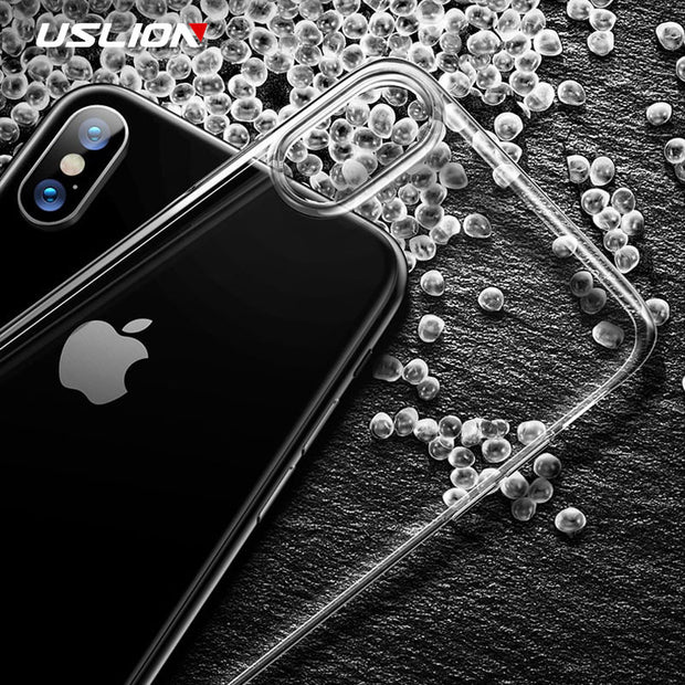 USLION Phone Case For IPhone X XS Max Transparent Soft Cover For IPhone XR 8 7 6 6s Plus 5 5S SE Clear TPU Silicone Cases