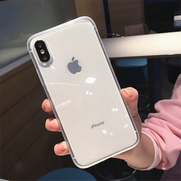USLION Transparent Candy Color Phone Case For IPhone 6 7 8 Plus X XR XS Max Clear Cases For IPhone 6 6S Plus Soft Silicon Cover