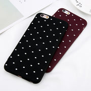 USLION Wine Red Ploka Dots Phone Case For IPhone 6 6s Plus XS Max Wave Point Cover Soft TPU Case For IPhone XR X 8 7 Plus 5 S SE