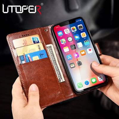 UTOPER Case For IPhone XR XS Max Case PU Leather Flip Luxury For IPhone 6 7 Plus Wallet Case For IPhone X 6S 7 Plus 8 Plus Funda