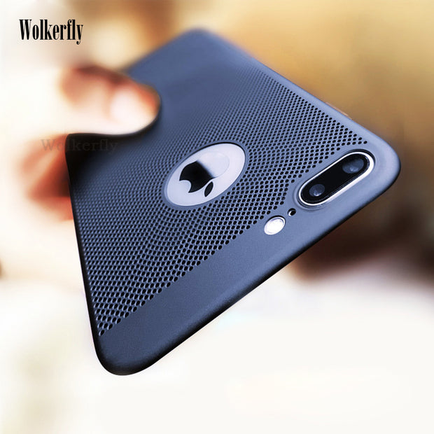Ultra Slim Phone Case For IPhone XS MAX XR 6 6s Plus Hollow Heat Dissipation Cover Hard PC For IPhone 7 8 Plus 5 5S SE Coque