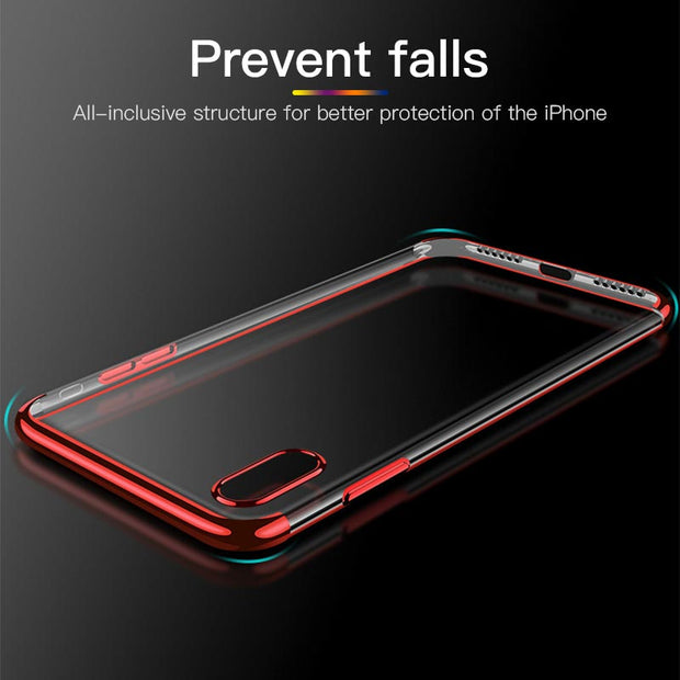 Ultra Thin Case For IPhone X XS Max XR Plated Soft TPU Transparent Clear Back Cover For IPhone 7 8 6S 6 Plus 5 5S Coque Fundas