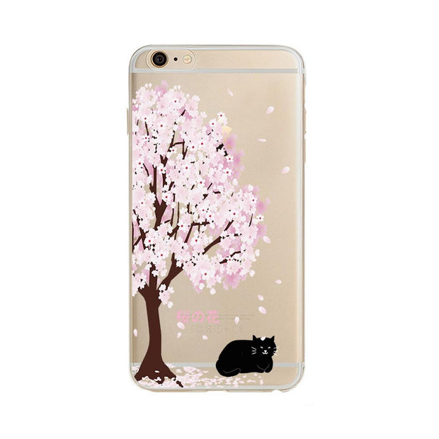 Ultra-Thin Shock-Absorption Cherry Blossoms Simple Mobile Phone Case For Iphone Back Cover For IPhone 6/6P,7/8,7/8p,X,XR,XSM