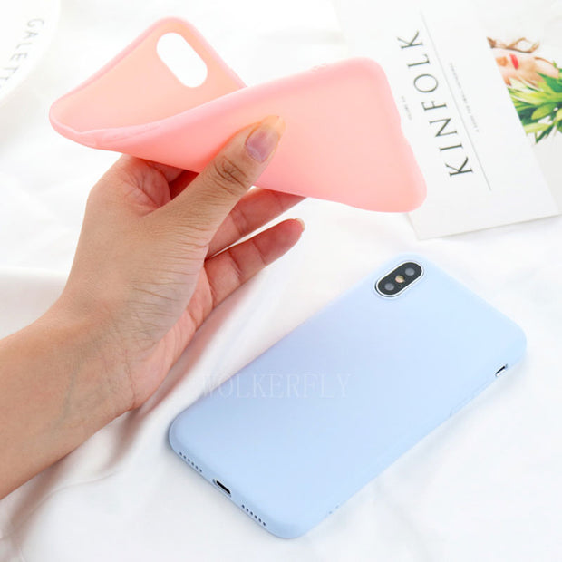Ultra-thin Candy Macaron Color Case For Iphone XS Max XR X 6 6S Plus 8Plus 360 Degree Full Cover Soft Cover For IPhone 7 Plus