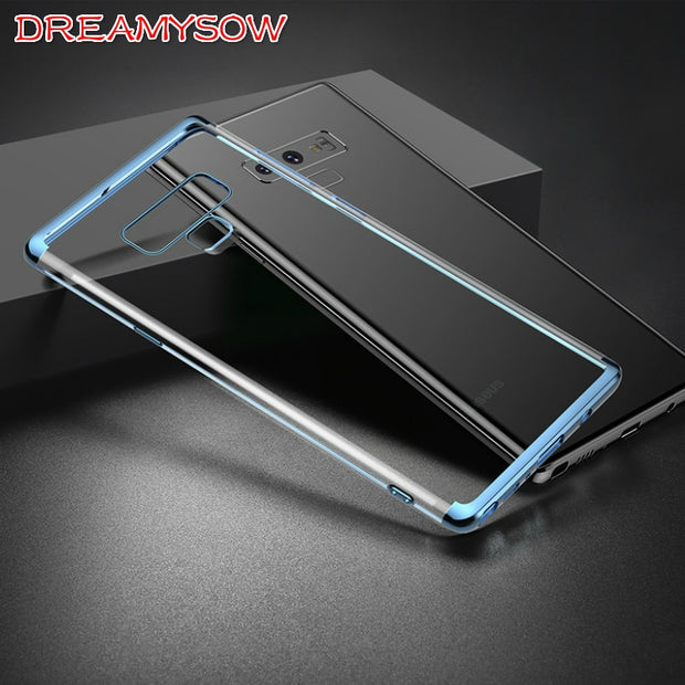 Ultra Thin Plating Case For Samsung Galaxy S10 Lite/Plus S9 S8 Plus S7 S6 Edge S5 Cover For Samsung Note 9 8 Clear Soft TPU Bag