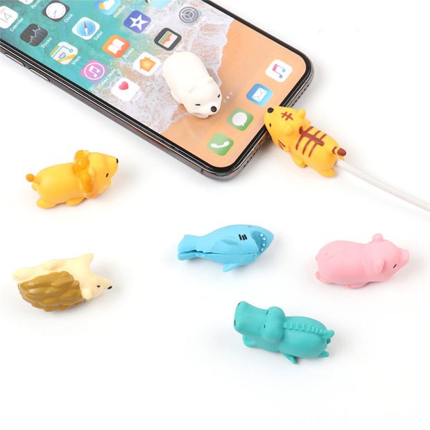 Universal For Iphone X 7 8 6 6S Plus 5s 5c XS MAX Lovely Cartoon Animal Cable Winder Anti-Break Data Cable Protective Case