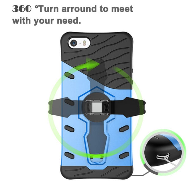 VCK For IPhone XR XS Max 5 5S SE 6 7 8 Plus X Case Armor Hybrid Back Cover Dual Layered TPU PC With 360 Degree Rotation