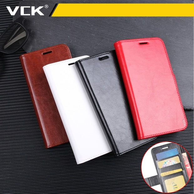 VCK Retro Wallet PU Leather R64 Light Cover Phone Case For IPhone XR XS Max X 7 8 Plus TPU Silicone Flip Back Bag