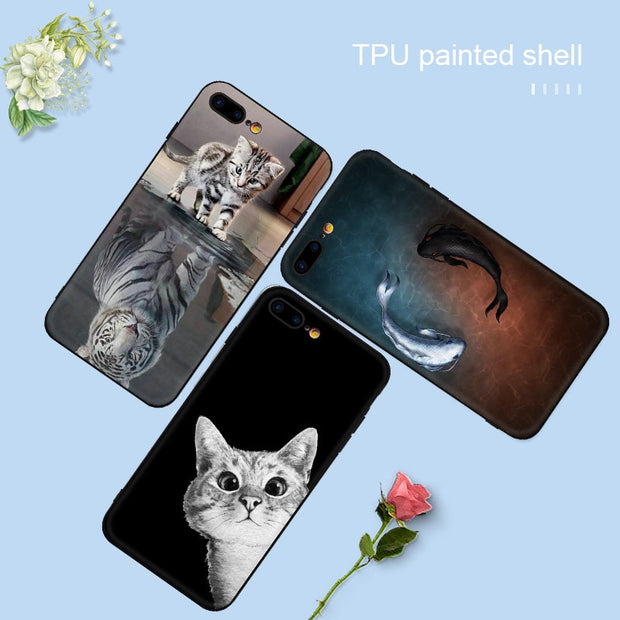 VEVICE Cartoon Animal Fish Cat Painted Pattern Case For IPhone XR XS MAX 8 7 Plus 6 6S Plus X Soft TPU Silicone Shell Coque Capa