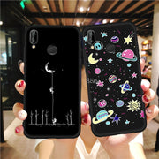 VEVICE Soft TPU Case For Huawei P20 Lite Pro P8 P9 P10 Lite 2017 Printed Silicone Cover Planets Moon Smoke Pattern Phone Shell