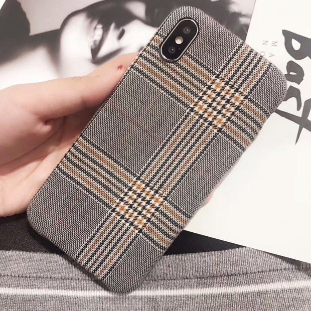 Vintage Fabric Cloth Phone Case For IPhone 6 6S Plus 7 8 Plus Plaid Capa Ultra Thin Soft Back Cover Coque For IPhone X Case