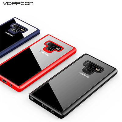 Voppton For Samsung Galaxy Note 9 Case Transparent Clear Hard PC Case Cover For Galaxy Note 9 Soft TPU Silicon Frame Armor Coque